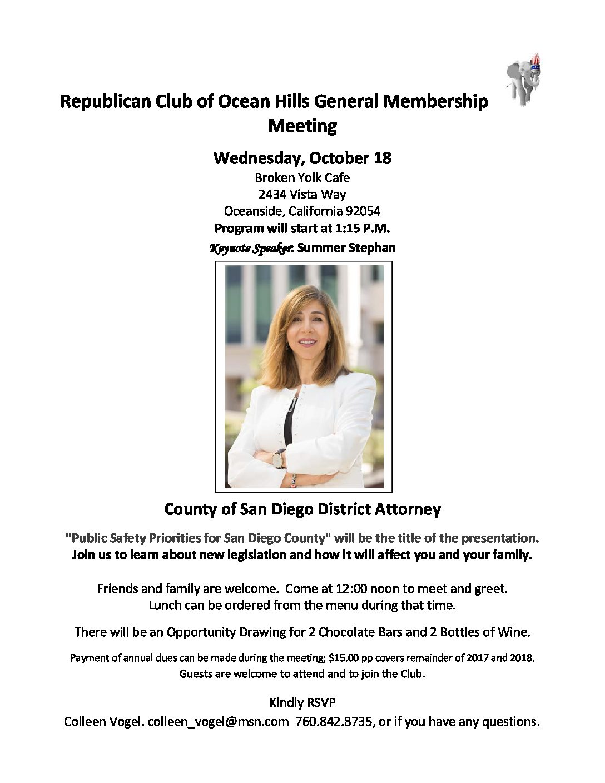 Republican Club of Ocean Hills General Membership Meeting